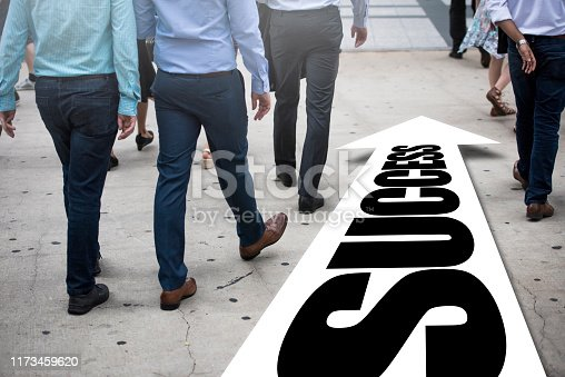 Businessman(s) follows right way - SUCCESS / City concept (Click for more)