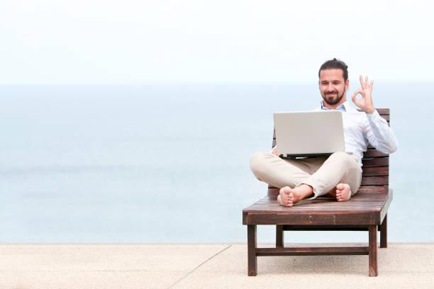 Businessman freelance on beach with laptop picture id872336544?b=1&k=6&m=872336544&s=612x612&w=0&h=lbdz6w3clsdnhhdsez7cuuo678lsa uccgm0 lqbl8s=