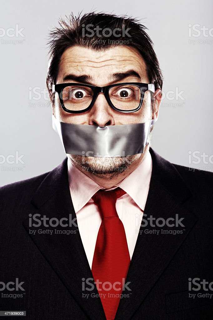 Businessman gagged stock photo