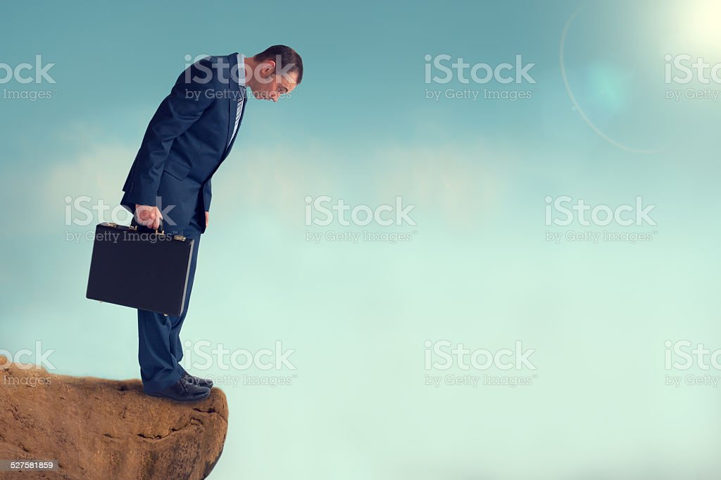 businessman gap worry fear obstacle stock photo