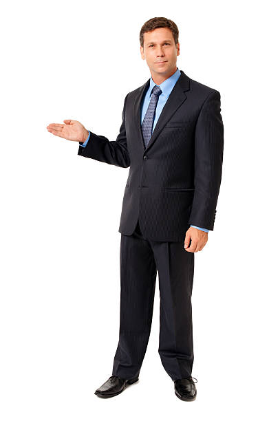 Businessman Gesturing Demonstrating Isolated on White Background stock photo