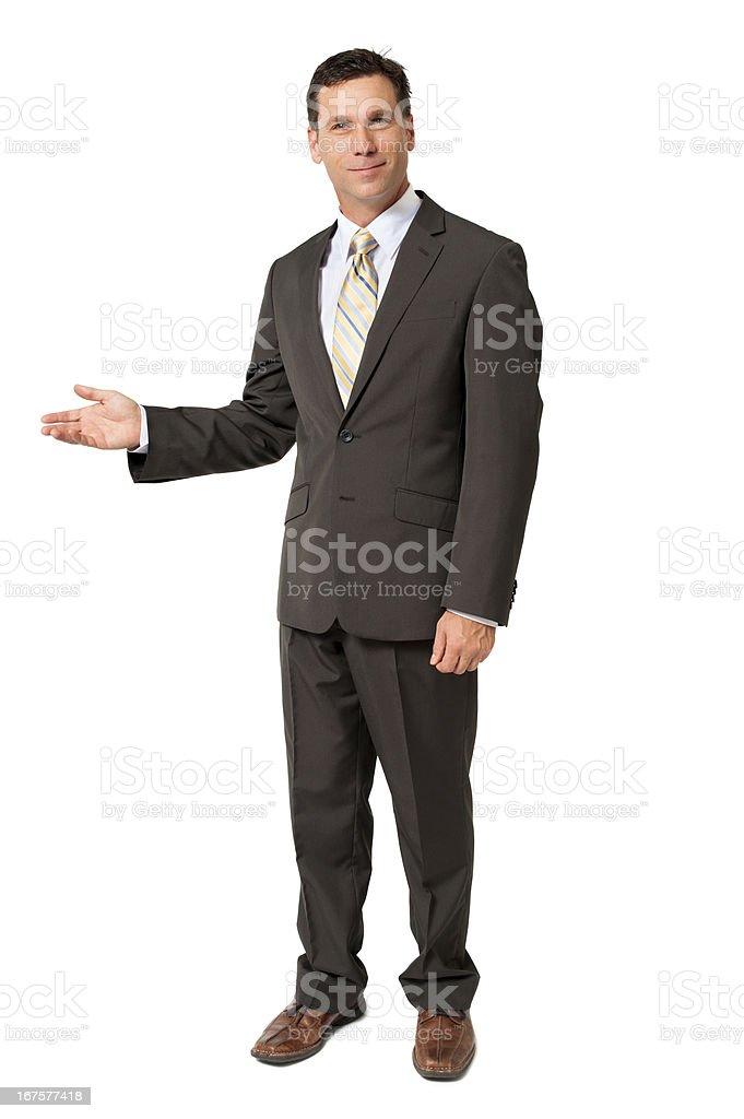 Gestes preuve Homme d'affaires isolé sur fond blanc - Photo