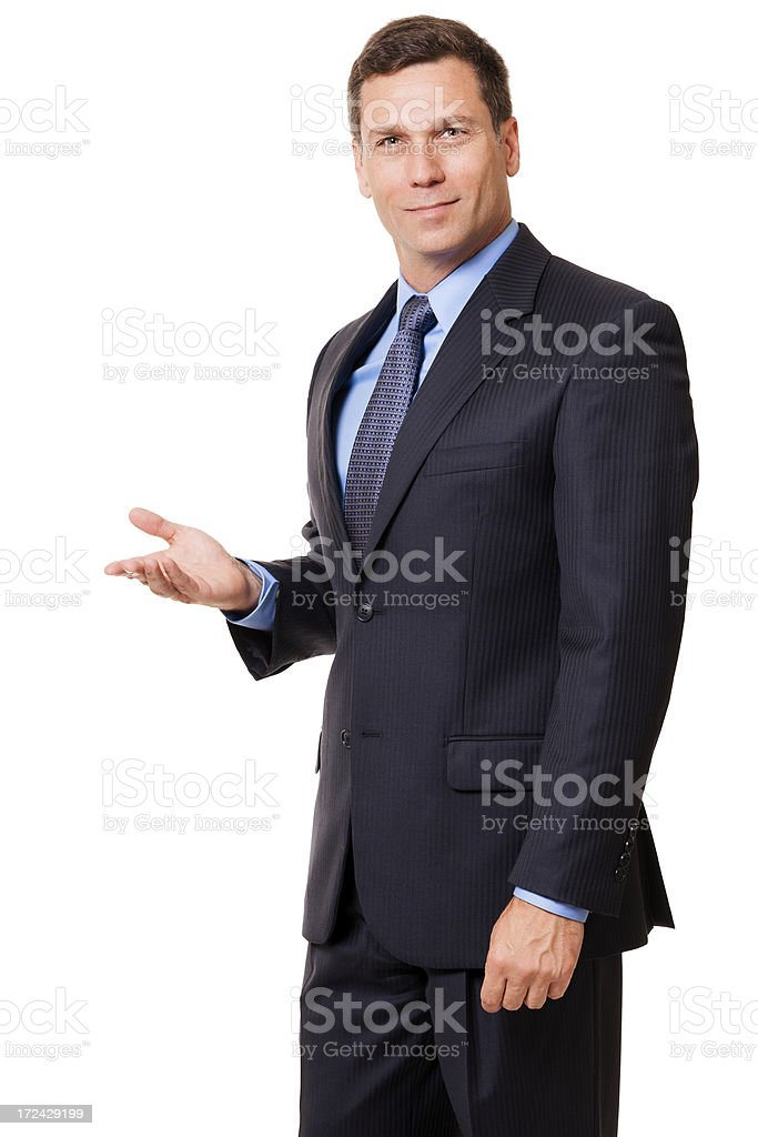 Businessman Gesturing Demonstrating Isolated on White Background royalty-free stock photo