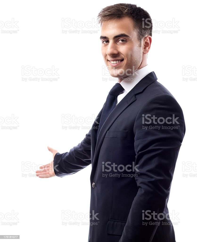 Businessman Gesturing Demonstrating on White royalty-free stock photo
