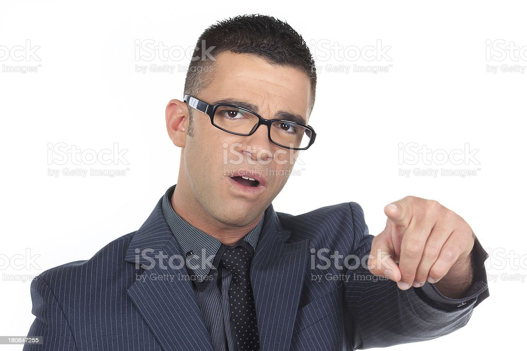 Businessman Gesturing Pointing on White royalty-free stock photo