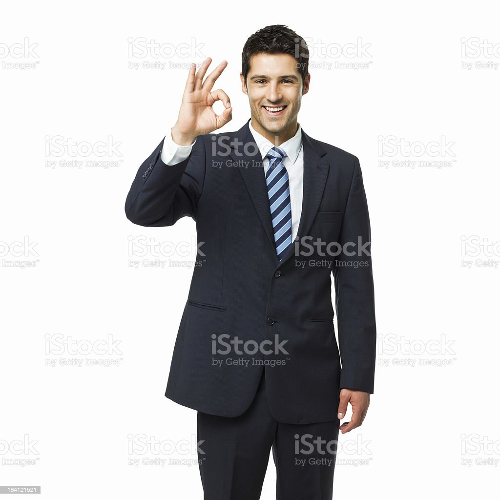 Businessman Gesturing the Okay Sign - Isolated royalty-free stock photo