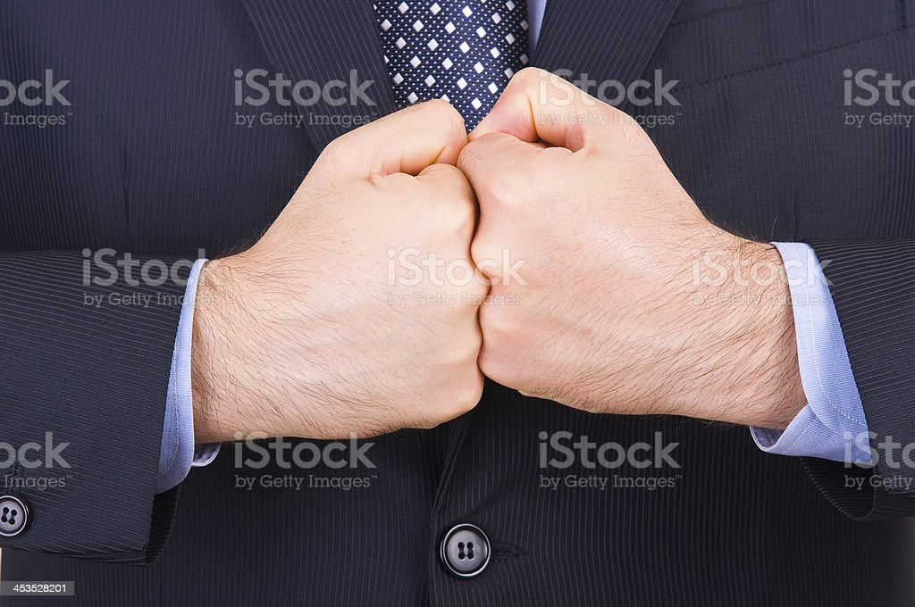 Businessman gesturing with both hands. royalty-free stock photo