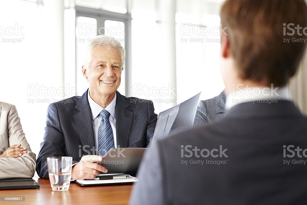 Businessman Getting Interviewed royalty-free stock photo