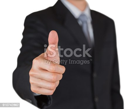 693589426istockphoto Businessman give a thumbs up for compliment isolated on white background as praise, congratulate, good and like concept. 910742862