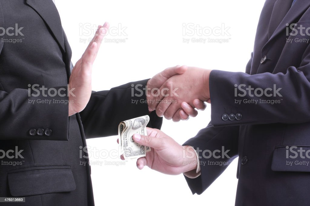 Businessman give money for corruption something but another peop stock photo