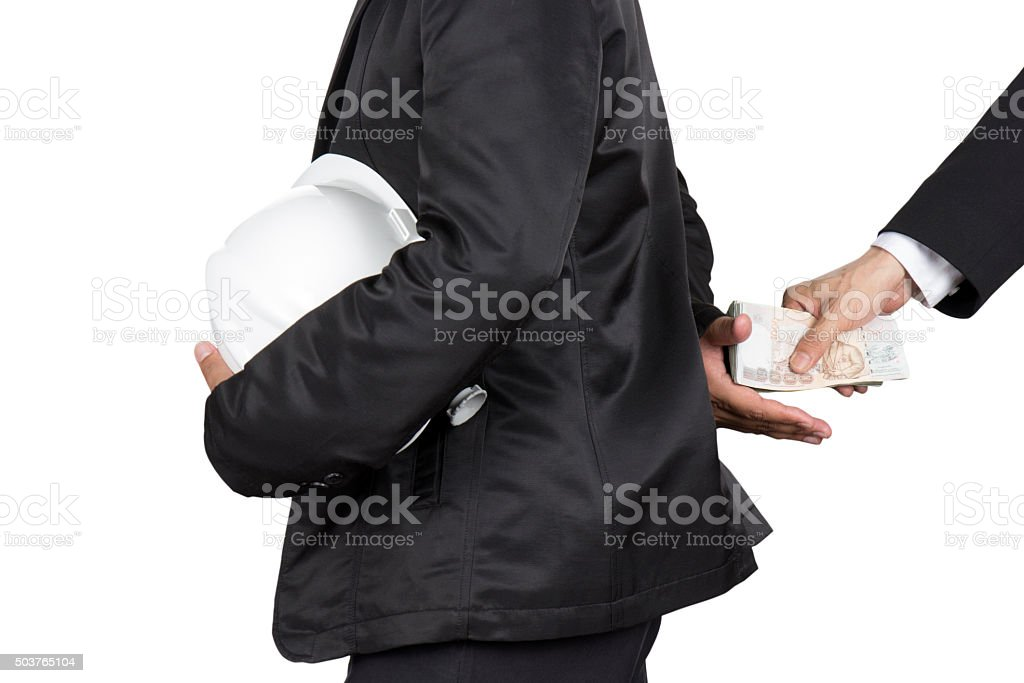 Businessman giving a bribe, Corruption : isolate on white stock photo