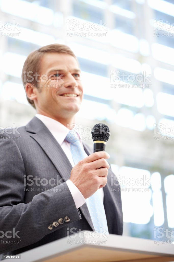 Businessman Giving a Speech royalty-free stock photo