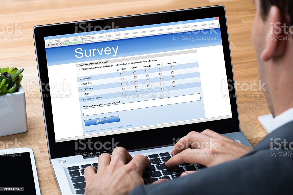 Businessman Giving Online Survey On Laptop stock photo