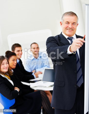 669854210 istock photo Businessman giving presentation in board meeting 145854329
