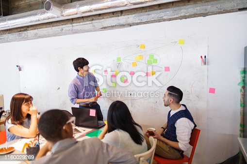A businessman is giving a presentation in a modern co-working space.
