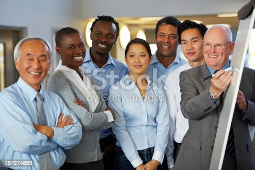 istock Businessman giving presentation to his team 187274889