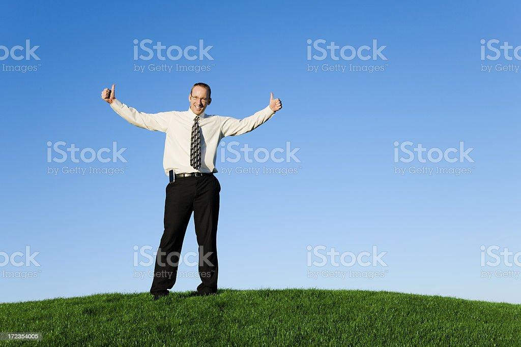 Dos hombre de negocios dando pulgar hacia arriba foto de stock libre de derechos