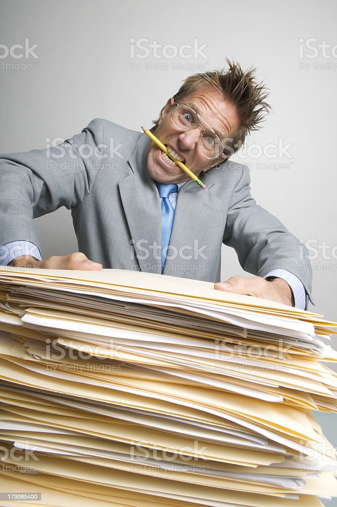 Businessman Goes a Little Crazy w Paperwork royalty-free stock photo