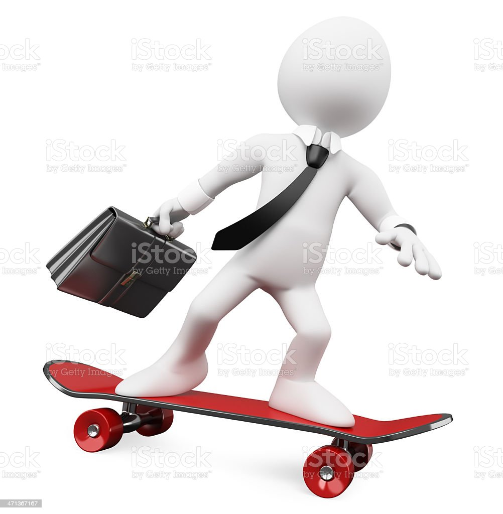 3D Businessman going to work on a skateboard royalty-free stock photo