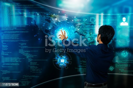 1167121815 istock photo Businessman graphic interface concept of business people Artificial intelligence (AI) and the Internet of information communication technology with the most advanced security systems to access high-tech systems 1157378096