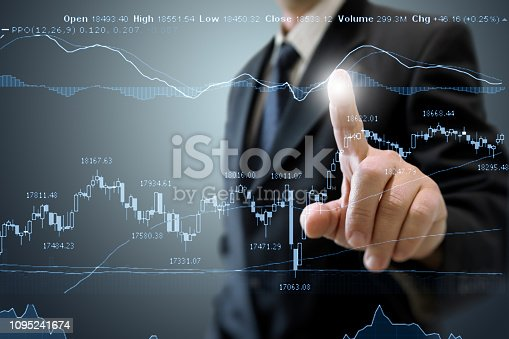 istock Businessman growth chart investment stock market graph business strategy 1095241674