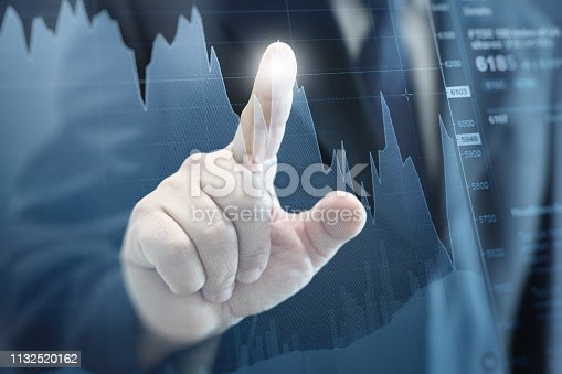 istock Businessman growth chart investment stock market graph business strategy 1132520162
