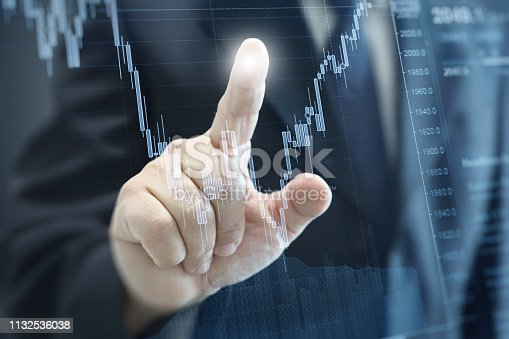istock Businessman growth chart investment stock market graph business strategy 1132536038