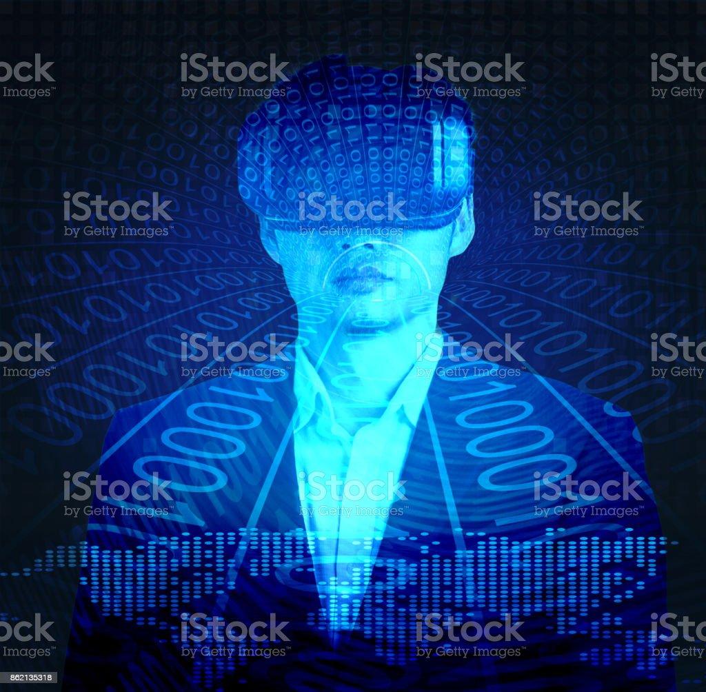 Businessman hacking via futuristic VR stock photo