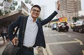 Businessman Hailing Taxi Kuala Lumpur