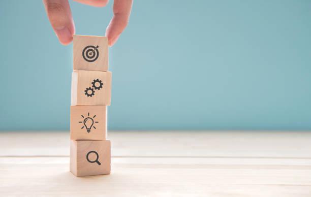 Geschäftsmann Hand Anordnen von Holz-Block mit Symbol-Business-Strategie und Aktionsplan. – Foto