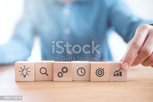 istock Businessman hand arranging wood block with icon business strategy and Action plan. 1060572678