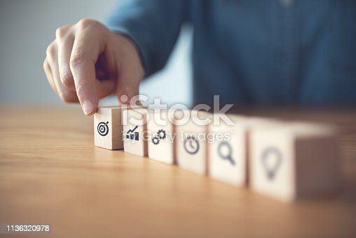 istock Businessman hand arranging wood block with icon business strategy and Action plan. 1136320978