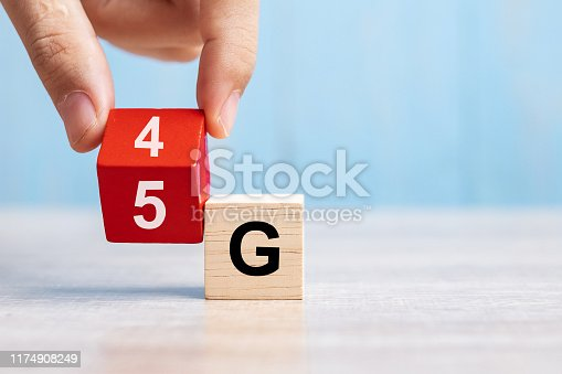 istock Businessman hand change wooden block from 4G to 5G. Technology, network, communication concept 1174908249