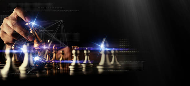 Geschäftsmann Hand Kontrolle Schachspiel-Figur Business Strategie verwalten Ideen Konzept Retro-Bildton – Foto