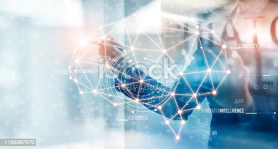 istock Businessman hand drawing a line brain leading to the idea, creativity and strategy of business, path to the goal,  abstract symbol. 1165067570
