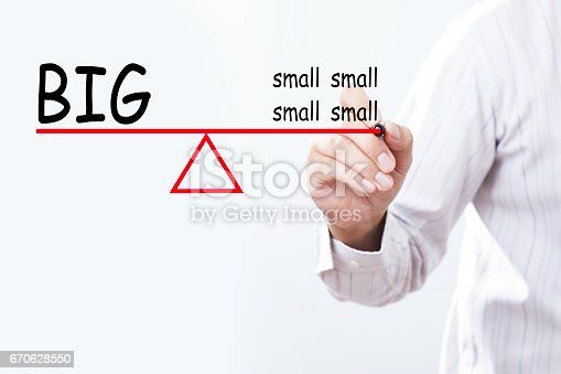 istock Businessman hand drawing BIG thing and small things balance concept. 670628550