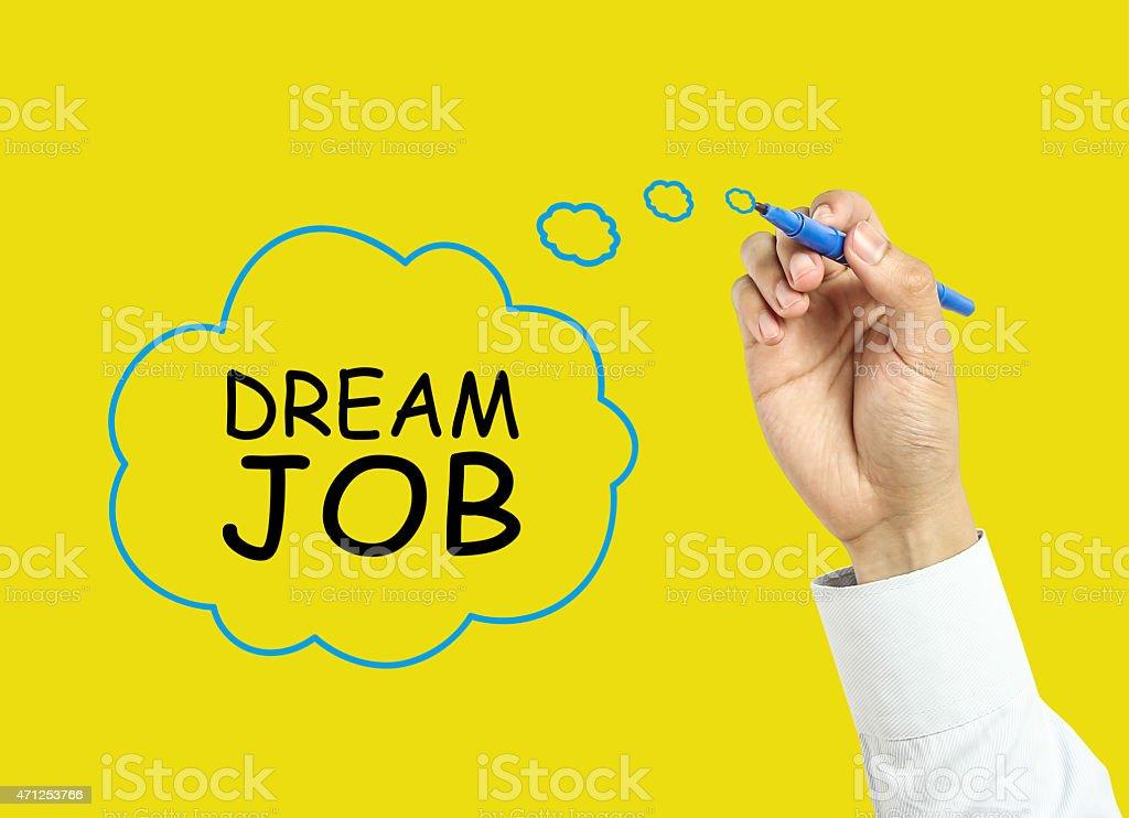 Businessman hand drawing dream job concept stock photo