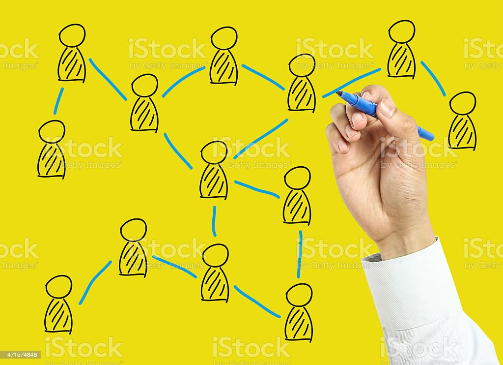 Businessman hand drawing social network concept stock photo