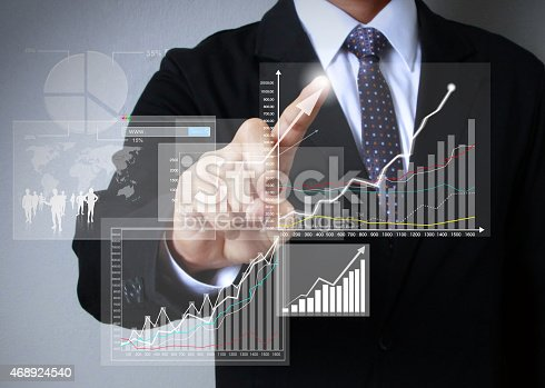 486678786 istock photo Businessman hand drawing virtual chart business on touch screen 468924540