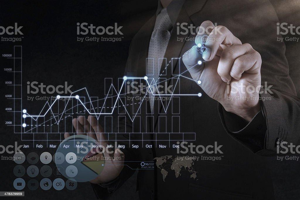 businessman hand drawing virtual chart business royalty-free stock photo