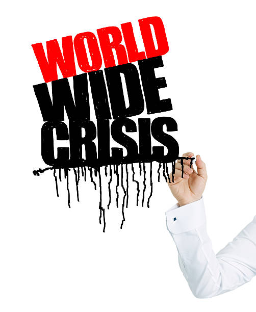 businessman hand drawing world wide crisis - people stencils silhouette stock photos and pictures