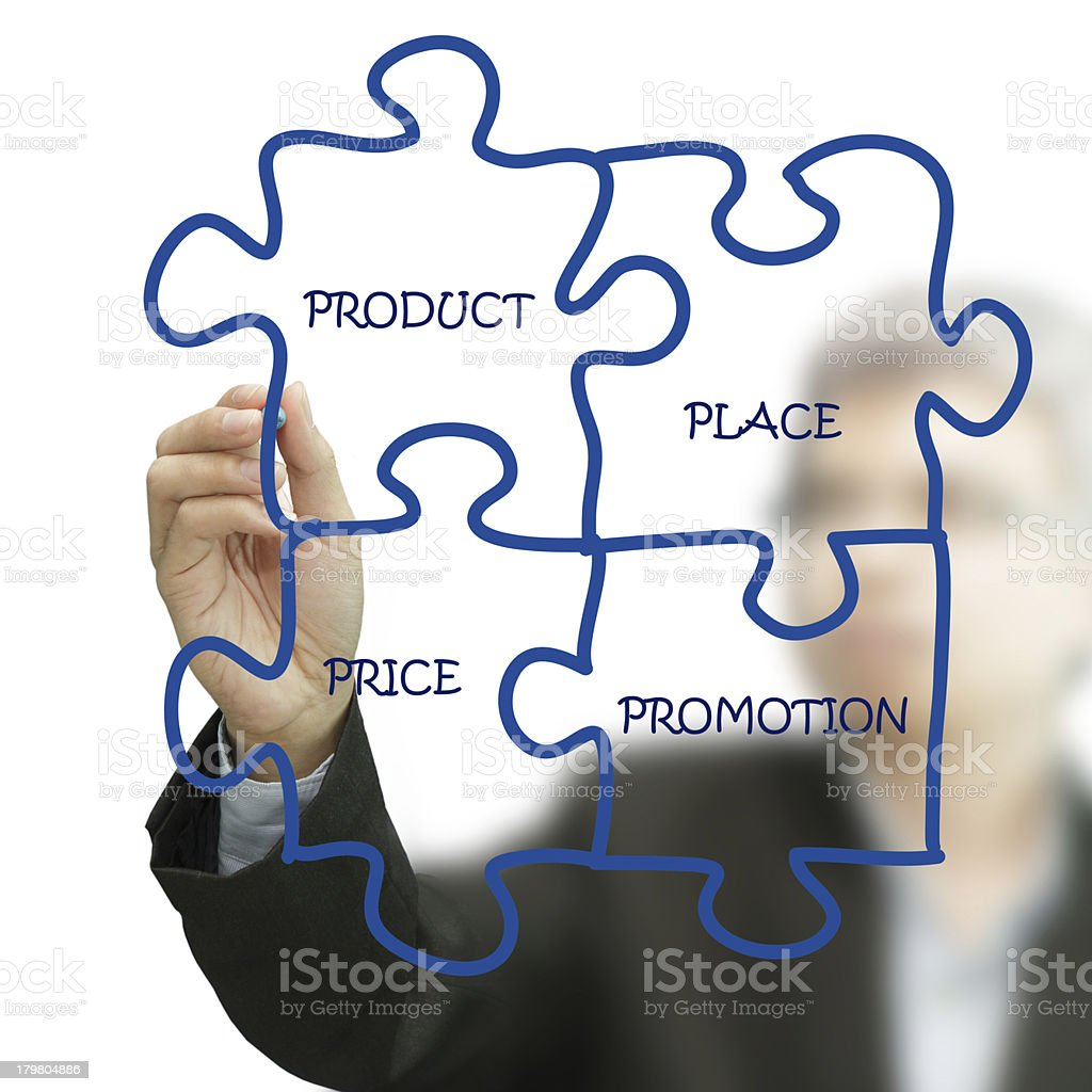 businessman hand draws puzzle diagram on white board royalty-free stock photo