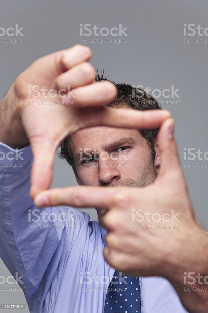 Businessman hand frame stock photo