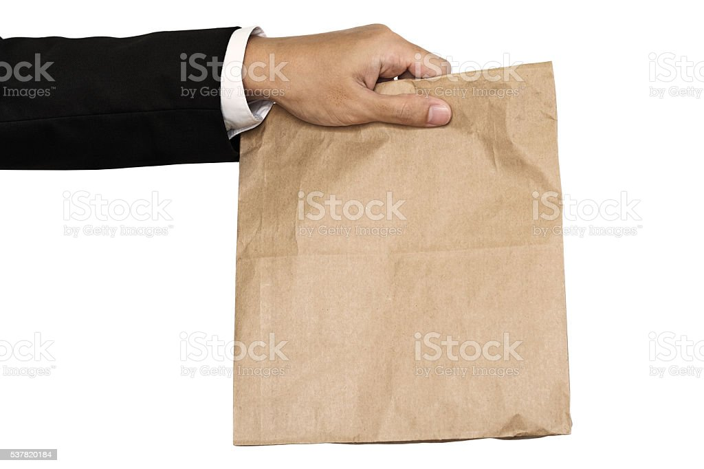 Technology Management Image: Businessman Hand Holding Brown Paper Bag Lunch Isolated