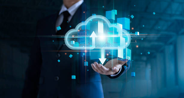 Businessman hand holding cloud computing online connecting to big data analytics. Block chain network technology and intelligence data storage develop smart decision in global business solution. stock photo
