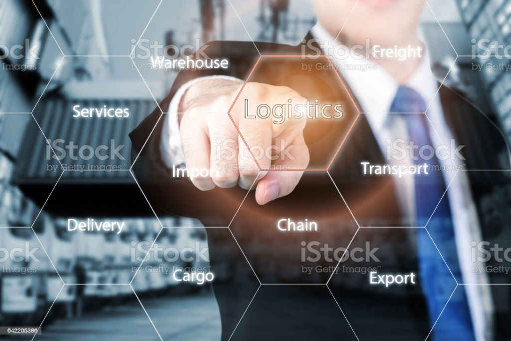 businessman hand holding digital tablet shipping icons stock photo