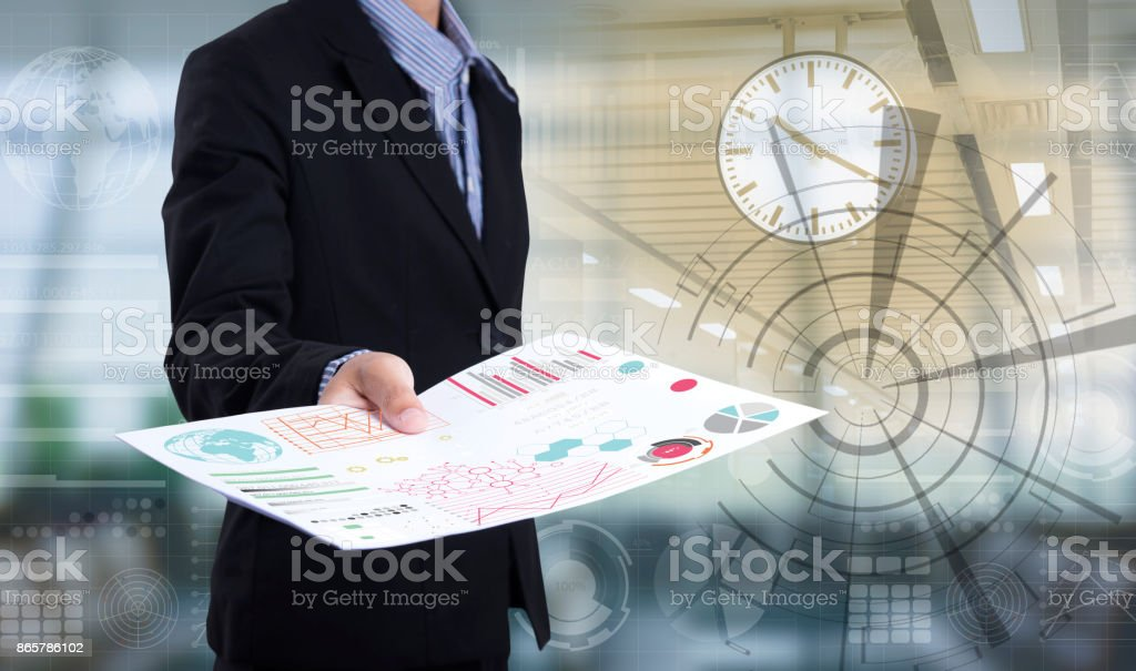 Businessman hand holding document paper lot of file. concept urgent time business. stock photo