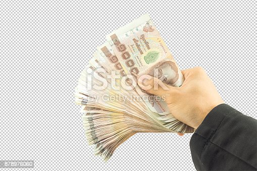 istock Businessman hand holding money and Man holding a wallet isolated on white background with clipping path. 878976060