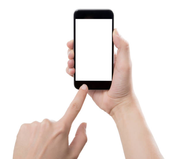businessman hand holding smart phone with path - photo messaging stock photos and pictures