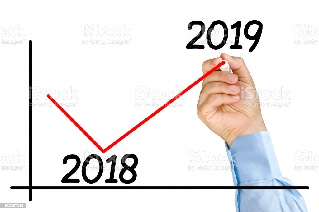 Businessman hand marker improvement graph 2019 year isolated stock photo